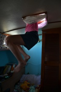 All the girls have multiple doors to get into the yacht. This is Sophia coming through  the hatch in Franci's cabin.