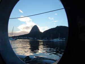 Safely anchored at last. You can see Sugarloaf Mountain through our porthole.