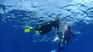 This is a picture with myself, Karin and Sophia, taken as seen from  the divers below us. They dived to about  17m. Here they were coming up