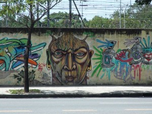 The graffiti in Rio is abundant, but not always legal. Some are, however, and we suppose this to be one of them - rather well done. also on the way to the Zoo.
