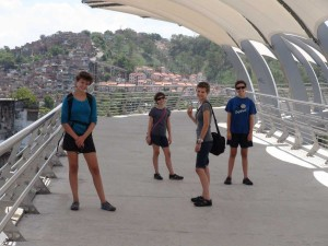 Us 'en route' to the Zoo. This is a bridge over the road that runs right past the biggest soccer stadium in Rio. (We could see it from there.)