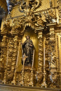 In the Little chapel linked to the Abbey. Baroque Style : Woodcarvings ovelayed with gold