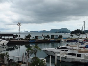 The view as seen from the shopping Mall to Shang Du. Shang Du is the boat right in the middle of the photo.