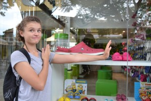 Abian, we found a Croc for you. Just the right colour too - to match your pink watch!