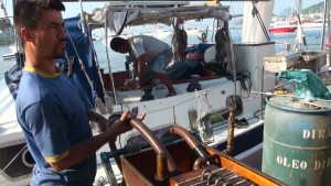 Our first attempt (and certainly not the only one) at cleaning our fuel. This was in Rio - and was done by the Yacht Club for a fee. We soon realised that this was not good enough.