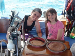 Before we left the boat, we told them to bake banana bread, since we had some very ripe bananas - and they did! Found the recipe and did it all on their own. ^_^