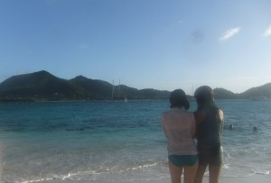 The (somewhat fuzzy, because of camera housing) view from Sandy Island of Shang Du. Sophia and Maria on the photo.
