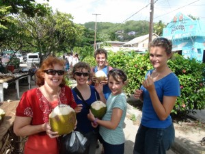 Us enjoying coconuts for the first time since Brazil