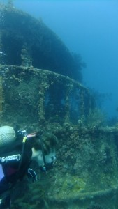Franci and the wreck dive at Bequia