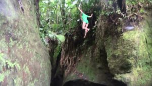 Here I am jumping into the gorge.