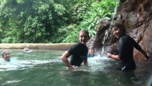 Fresh water is always such a bonus. Marike, Karin J and Sophia at the entrance to the gorge.