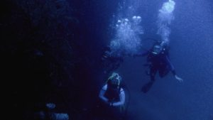 One of the deep dives we did. (Uncle Ricardo is underneath me and Franci (left) and me (right).