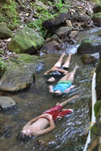 Juca, Sophia and Marike playing Ophelia in the cold mountain stream.