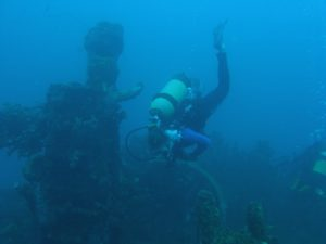 Marike diving on a wreck.