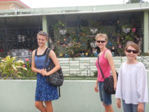 Marike, Franci and Sophia. We are walking in the nearest neighbourhood to our Fajardo anchorage. There were no shops close by and the houses in the area all came equipped with burglar bars. In this photo they are interestedly decorated.