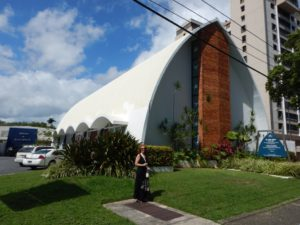 My Mom in front of the Church Building