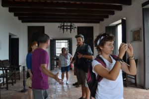 """Here we are visiting in the """"White House"""". This is where the Governor of San Juan used to live way back."""