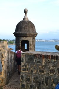 From the Fort we followed the fortress wall all along the outside of Old San Juan. We loved these little Guardhouse pinnacles. These enabled the soldiers to see past the battlements and yet hide away from snipers.
